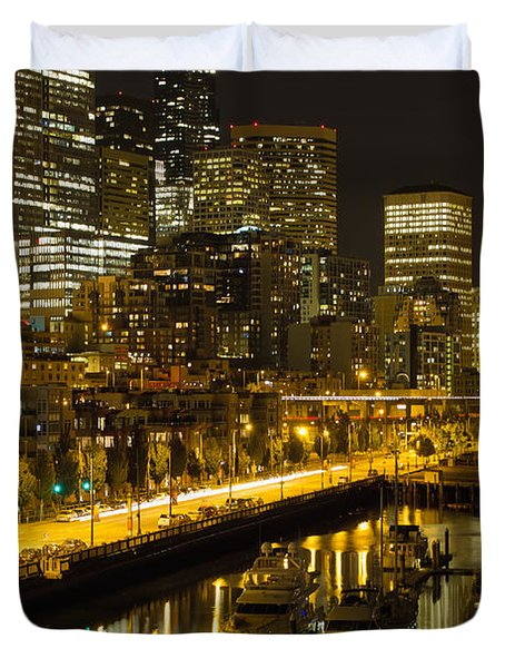 Duvet Cover featuring the photograph Seattle Downtown Waterfront Skyline At Night by JPLDesigns
