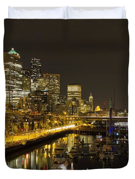 Duvet Cover featuring the photograph Seattle Downtown Waterfront Skyline At Night Reflection by JPLDesigns