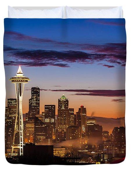 Seattle Fog Sunrise Duvet Cover