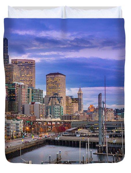 Seattle Great Wheel Duvet Cover by Inge Johnsson