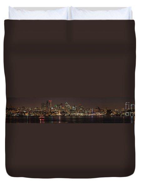 Seattle Lake Union Winter Reflection Duvet Cover