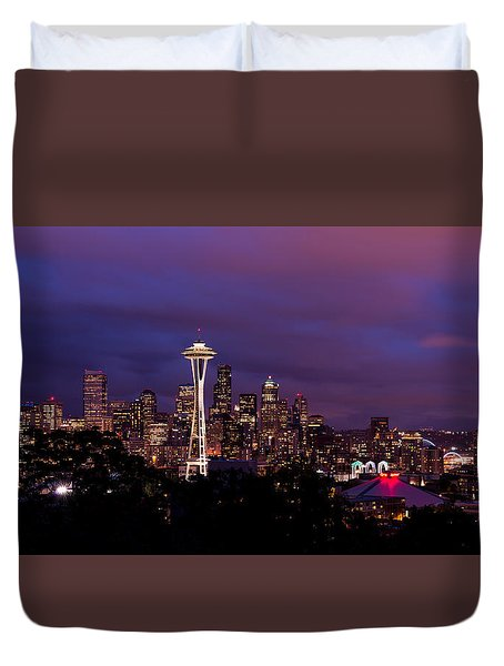 Seattle Night Duvet Cover by Chad Dutson