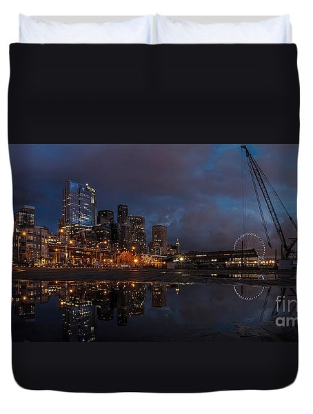 Seattle Night Skyline Duvet Cover by Mike Reid