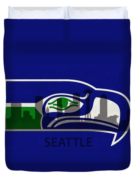 Seattle Seahawks On Seattle Skyline Duvet Cover by Dan Sproul