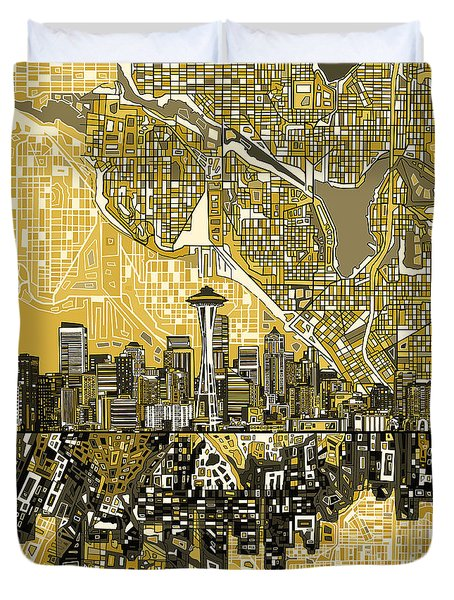 Seattle Skyline Abstract 2 Duvet Cover