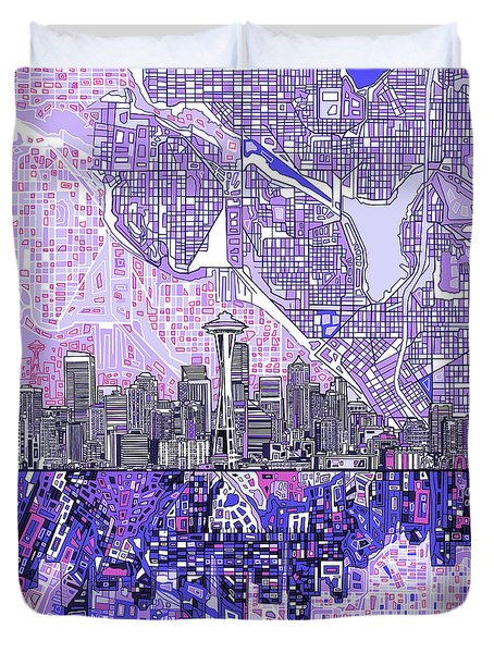 Seattle Skyline Abstract 3 Duvet Cover