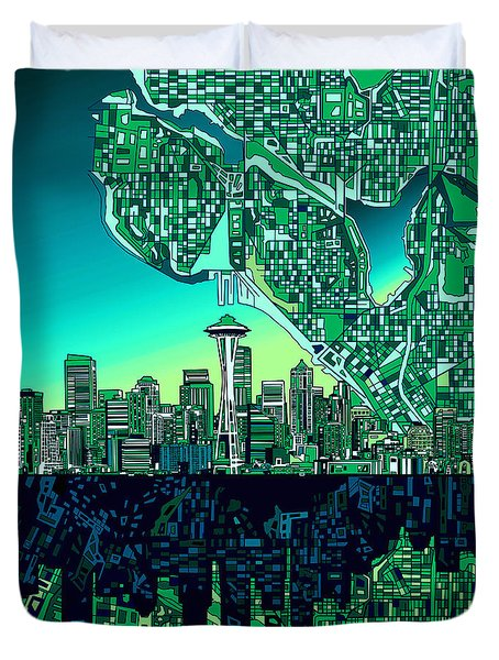 Seattle Skyline Abstract Duvet Cover