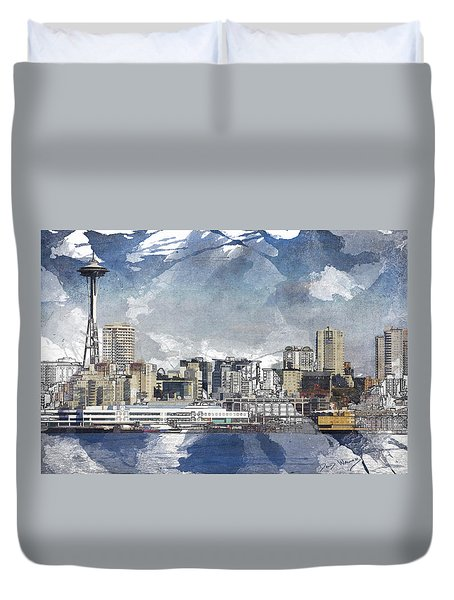 Seattle Skyline Freeform Duvet Cover