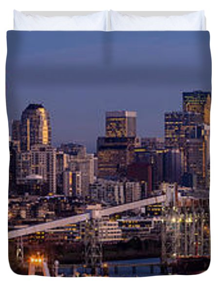 Seattle Skyline From Magnolia At Dusk Duvet Cover by Mike Reid