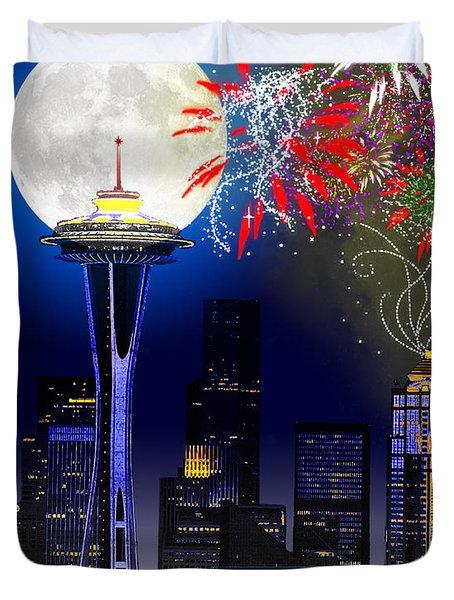 Seattle Skyline Duvet Cover
