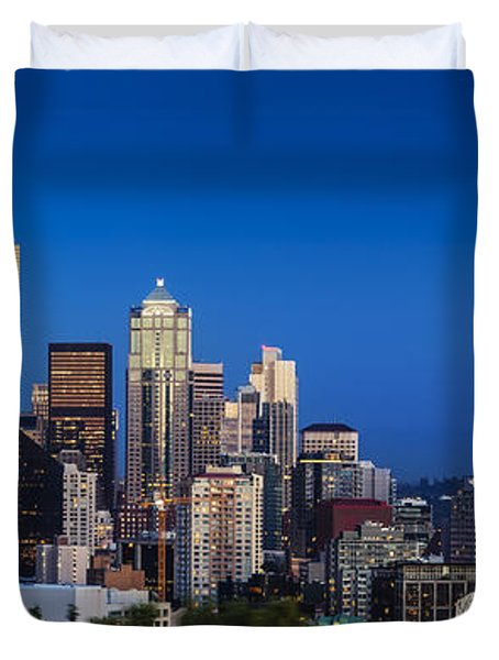 Duvet Cover featuring the photograph Seattle Skyline Panoramic by Brian Jannsen