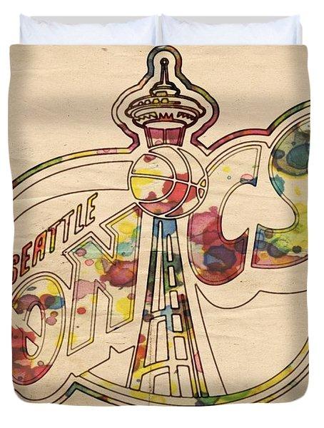 Seattle Sonics Retro Poster Duvet Cover by Florian Rodarte