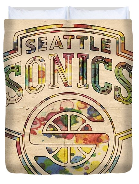 Seattle Supersonics Poster Art Duvet Cover by Florian Rodarte