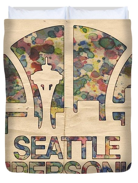 Seattle Supersonics Poster Vintage Duvet Cover