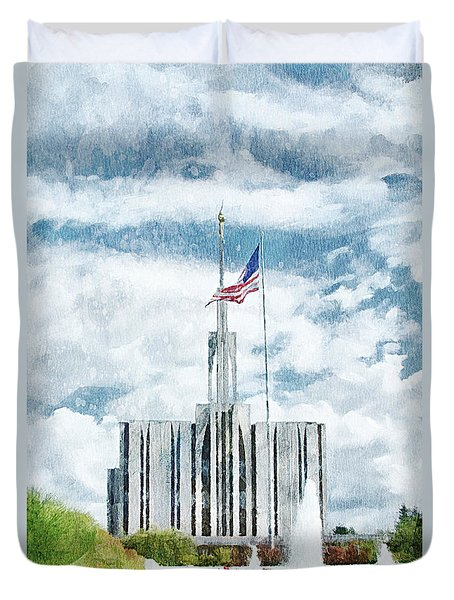 Seattle Temple 1 Duvet Cover by Greg Collins