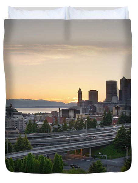 Duvet Cover featuring the photograph Seattle Washington Downtown City Sunset by JPLDesigns