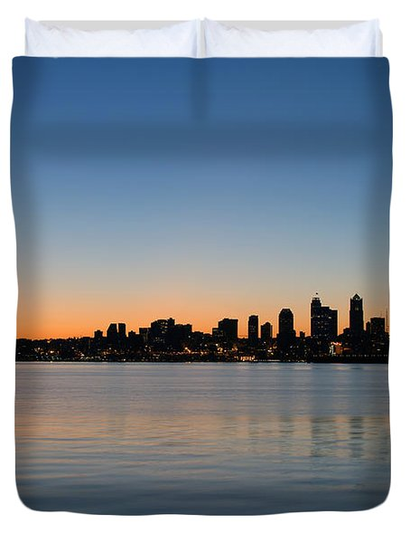 Duvet Cover featuring the photograph Seattle Washington Waterfront Skyline At Sunrise Panorama by JPLDesigns