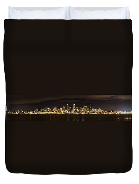 Seattle Waterfront At Night Panoramic Duvet Cover by Chris McKenna