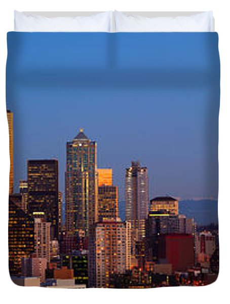 Seattle Winter Evening Panorama Duvet Cover
