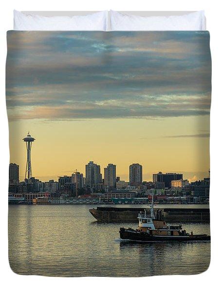 Seattles Working Harbor Duvet Cover