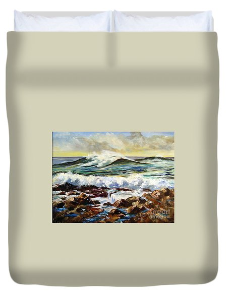 Duvet Cover featuring the painting Seawall by Lee Piper