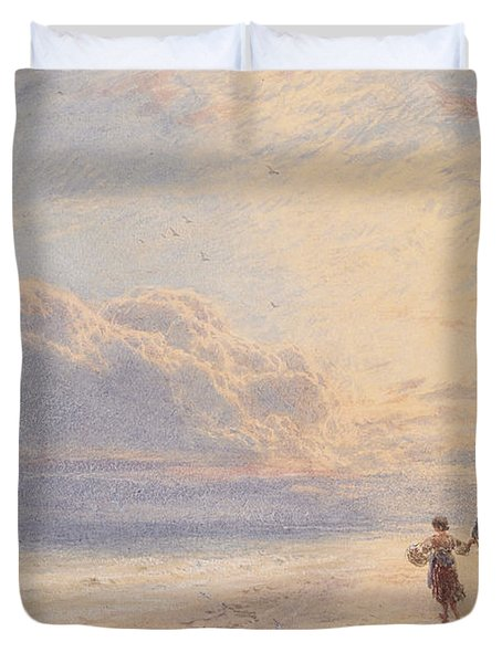 Seaweed Gatherers Duvet Cover by Myles Birket Foster