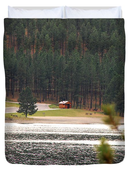 Secluded Cabin Duvet Cover by Mary Carol Story