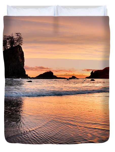 Second Beach Sunset Duvet Cover