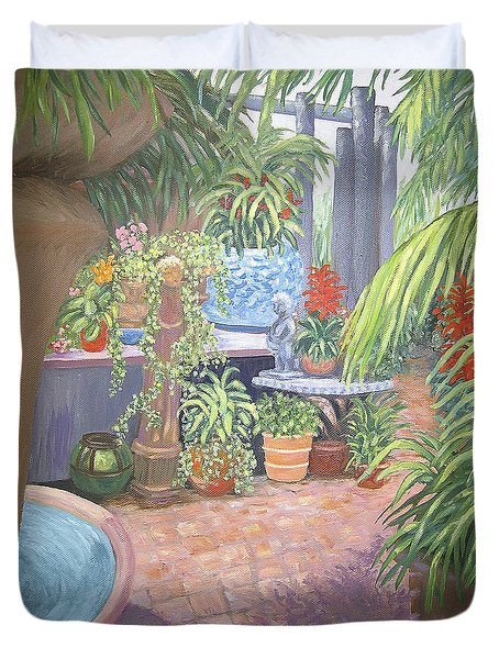 Duvet Cover featuring the painting Secret Garden by Karen Zuk Rosenblatt
