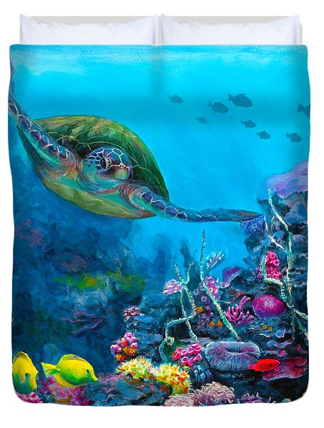 Secret Sanctuary - Hawaiian Green Sea Turtle And Reef Duvet Cover