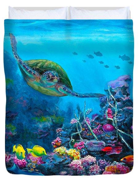 Secret Sanctuary - Hawaiian Green Sea Turtle And Reef Duvet Cover