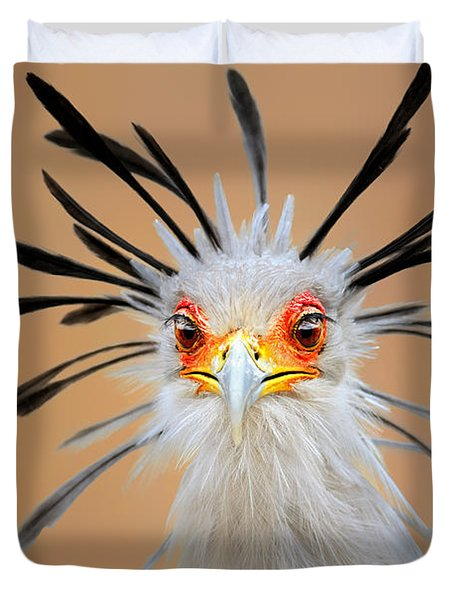 Secretary Bird Portrait Close-up Head Shot Duvet Cover
