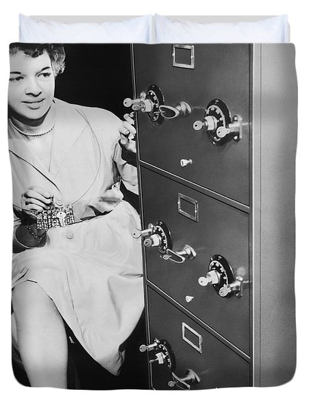 Secure Filing Cabinet Duvet Cover