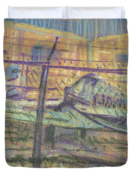 Duvet Cover featuring the painting Secured Planes by Donald Maier