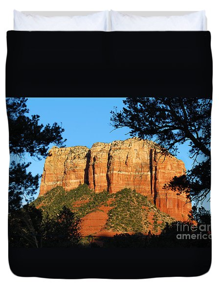 Sedona Courthouse Butte  Duvet Cover by Eva Kaufman