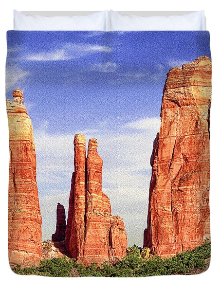 Sedona Red Rock Cathedral Rock State Park Duvet Cover by Bob and Nadine Johnston