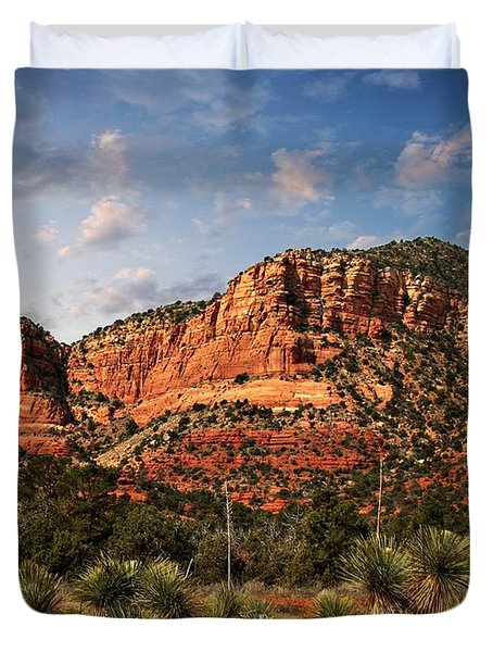 Duvet Cover featuring the photograph Sedona Vortex  And Yucca by Barbara Chichester