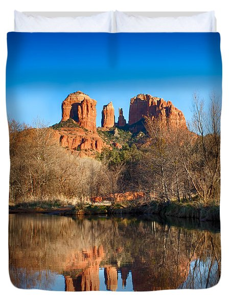 Sedona Winter Reflections Duvet Cover by Fred Larson