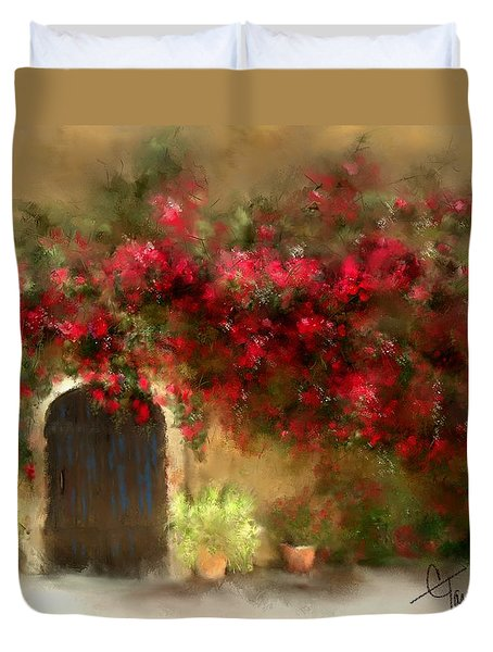 The Bougainvillea's Of Sedona Duvet Cover by Colleen Taylor
