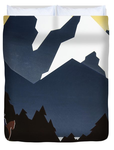 See America - Montana Mountains Duvet Cover by Georgia Fowler