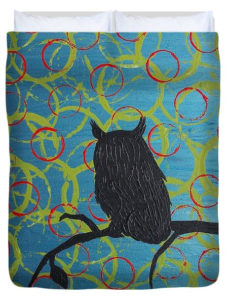 Duvet Cover featuring the painting Seer by Jacqueline McReynolds
