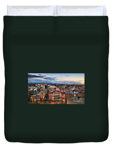 Segovia Nights In Spain By Diana Sainz Duvet Cover