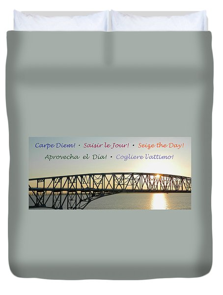 Seize The Day - Annapolis Bay Bridge Duvet Cover by Emmy Marie Vickers