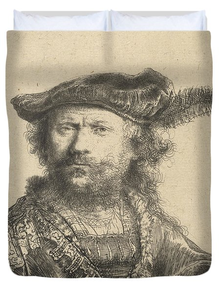 Self Portrait In A Velvet Cap With Plume Duvet Cover by Rembrandt