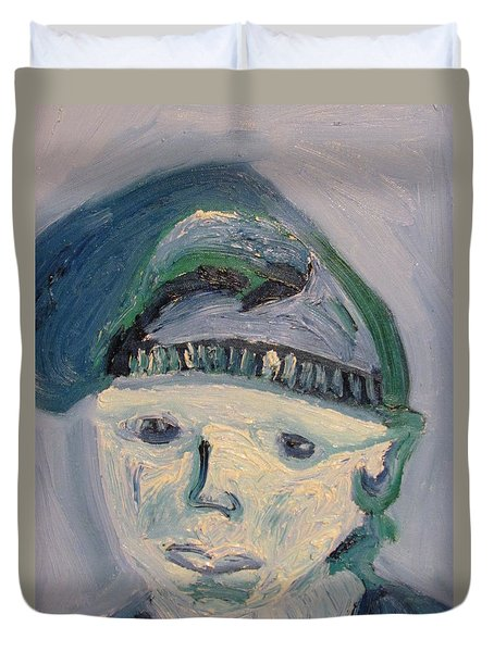 Self Portrait In Blue And Green Duvet Cover