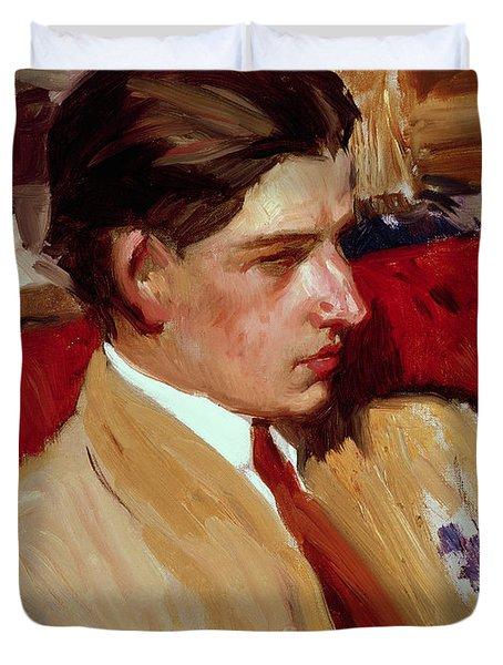Self Portrait In Profile Duvet Cover by Joaquin Sorolla y Bastida
