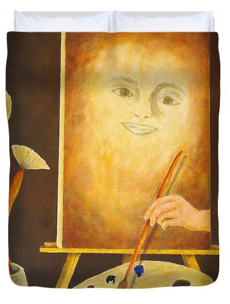 Self-portrait In Progress Duvet Cover by Pamela Allegretto
