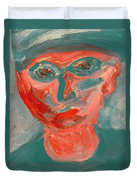 Self Portrait In Turquoise And Rose Duvet Cover
