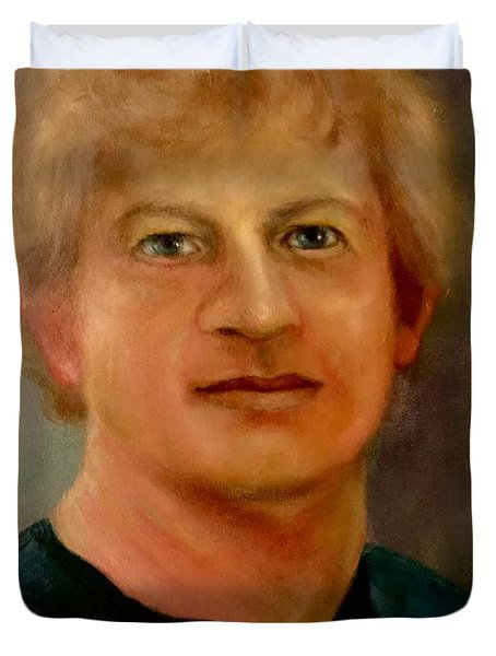 Duvet Cover featuring the painting Self Portrait by Randol Burns