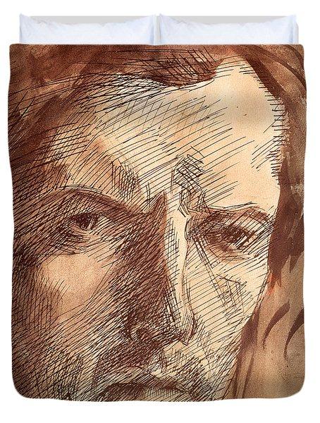 Self Portrait Duvet Cover by Umberto Boccioni